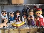 """10pc Nativity Blow Mold Scene Set- 18"""" Nativity Table Top Collection"""