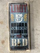 Limit 5 Skiers Per Bed Mammoth Mountain Ca Ski Vintage Framed Sign Cabin Decor