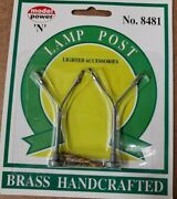 New N Scale Model Power 8481 Brass Handcrafted Double Head Lamp Posts 2 Pack