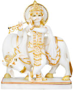 Krishna Statue Playing Flute White Marble 15 Inches Tall