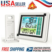 Weather Station Digital Lcd Thermometer Hygrometer Indoor Outdoor Temperature Us