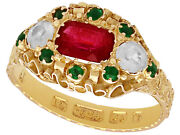 Antique Paste And 15k Yellow Gold Dress Ring, Victorian 1873