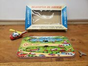 Vintage Cragstan Tps Windup Helicopter On Airfield Japan In Box Tin Toy Lot