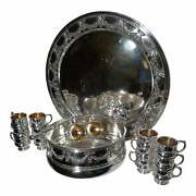 Reed And Barton Neoclassic Style Silver Plate/gilt Punch Set - 17 Pieces Ca 1878