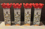 Vintage Marx Castle Knights And Viking Tin Towers Set Of 4