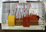 Circleware - Rooster Milk Bottle Glasses - Set Of 6 W/ Straws And Tray Nos