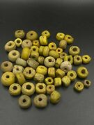 Trade Vintage Jewelry Antique Yellow Glass Hebron Beads Necklace Sudan African
