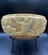Antique Marble Stone Bowl Engraved Figures Ancient Greco Greek Bactrian Empire