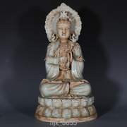 Old Chinese Antiques Song Dynasty Kiln Shadow Green Guanyin Buddha Statue