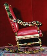 Antique French Rocking Chair New Leather Faux Chinchilla Fur