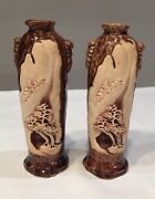 Antique Japanese Carved Banko Red-ware Pottery Mountain Bonsai Vase Relief Art