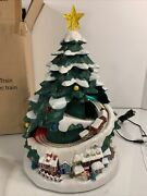 Avon 2007 Lighted Christmas Music Holiday Tree With Train Rare W/ Box And Dc Works