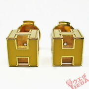 Hermes Earrings H Cube Cage D H Yellow Gold Accessories Ladies Used Excellent