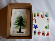 6andrdquo Tall Green Glass Christmas Tree And 12 Removable Glass Ornaments Original Box