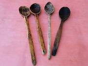 Old Antique Primitive Wooden Handmade Long Rare Carved Spoons Padle - Lot Of 4