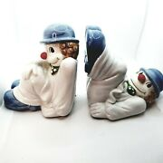 Vintage Fitz And Floyd Clown Bookends Green Bow Tie Blue Hat Red Nose Blue Shoes