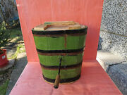 Old Antique Primitive Massive Butter Churn With Hand Crank Wooden Paddle 19th