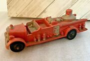 Vintage Made In Usa Toy 7 1/2 Long Plastic Auburn Fd Red Fire Truck 500