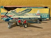 Vintage Dc-7 Mainliner United Airlines N46071 Friction Toy Airplane