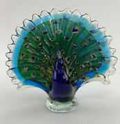 Glass Spectacular Multi-color Swirled Peacock Figurine 7.75 In Tall
