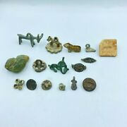 Authentic Antique Lot Bronze Animals Figures Pendants Stamp From Ancient Times
