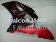 Red Flames Black Abs Injection Left Side Fairing Fit For 1998-2002 Yzf R6 Aaj