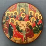 Large Rare Antique 20 C Russian Orthodox Hand Painted Icon The Last Supper 13.7