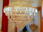 Vintage Large Circular Gold Plated Crystal Austrian Strauss Chandelier