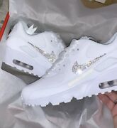 Crystal {nike Air Max 90}and039s In White With Customised Nike Ticks
