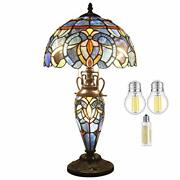 Style Lamp 3led Bulb Included Stained Glass Bedside Table Night Light...
