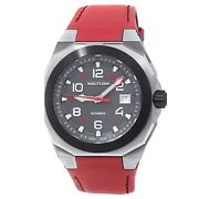 Waltham Aeronaval Stainless Steel Red Leather Automatic Black Menand039s Watch An-01