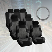 Suv 3row 7 Seats Gray Seat Covers With Gray Leather Steering Wheel Cover Combo