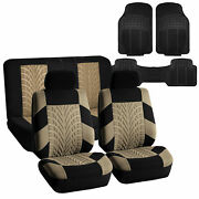 Car Seat Covers With Floor Mats Combo For Auto Suv Car Beige