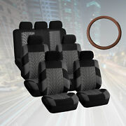 Suv 3row 7 Seats Gray Seat Covers With Brown Leather Steering Wheel Cover Combo