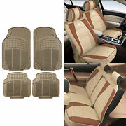 Leatherette Cushion Seat Covers For Auto Suv Car Beige W/ Beige Floor Mats