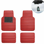 Universal Floor Mat For Cars Leather Stripe Design For Auto Red W/ Gift