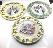 Set Of 3 Collecter Asian Art Hand Painted Decorative Plates
