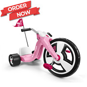 Pink Girl Kids Big Flyer Chopper Tricycle 16 Front Wheel Adjustable Seat Sports