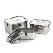 Stainless Steel 304 Storage Sealed Container With Lid And Handle Set 3p3l +5l +