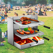 Vevor Campfire Grill Fireplace Grill Santa Maria Adjustable Stainless Windshield