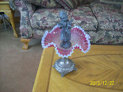 Brides Basket Compote Antique Cranberry Ruffled Victorian Pewter Child Statue