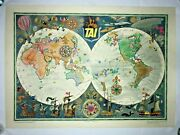 World Map Tai By Luc-marie Bayle 1957 Antique Large Pictorial Map On Linen