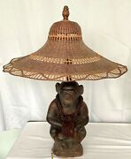Sitting Monkey Table Lamp With Straw Hat Lamp Shade 30 Tall