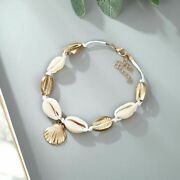 Ocean Sea Shell Sequin Beads Charm Bracelet Anklet Jewelry For Women Accessories