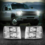For 2007-2014 Chevy Silverado 1500/2500/3500 Clear Headlights Chrome Replacement