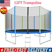 12ft Premium Trampoline With Enclosure Safety Net Adults/kid Outdoor Trampoline