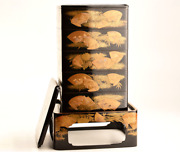 Antique Japanese Lacquer Folding Fan Maki-e Jubako Stacking Boxes With A Base