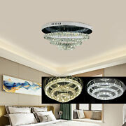 Modern Led Crystal Chandeliers 3 Rings Round Ceiling Light Lamp Pendant Lamp Usa