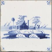 Nice Dutch Delft Blue Tile House With A Water Well 18th Century.