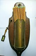 Vintage Brass Wooden Fireplace Match Holder With Matches Made In Italy